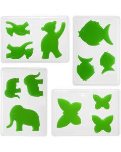 Moldes decorativos, Animales, A: 6+8+10 cm, medidas 14,9x22 cm, 4 ud/ 1 paquete
