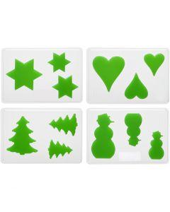 Moldes decorativos, Navidad, A: 6+8+10 cm, medidas 14,9x22 cm, 4 ud/ 1 paquete