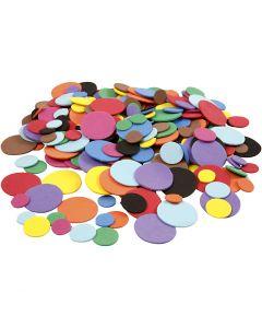 Círculos de goma EVA, dia: 12+20+32 mm, surtido de colores, 300 stdas/ 1 paquete