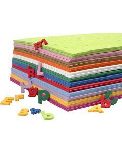 Letras y números de goma eva, A: 20 mm, surtido de colores, 24 hojas stdas/ 1 paquete