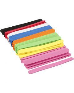 Espuma EVA palos de hielo, L. 11,5 cm, A: 1 cm, grosor 2 mm, surtido de colores, 120 ud/ 1 paquete