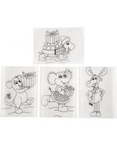 Hojas de Shrink Plastic con motivos, 10,5x14,5 cm, mate transparente, 4 hoja/ 1 paquete