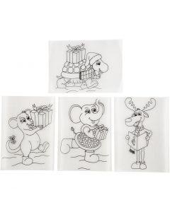 Hojas de Shrink Plastic con motivos, 10,5x14,5 cm, mate transparente, 36 hoja/ 1 paquete