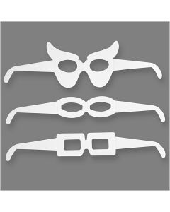 Gafas de cartón , A: 4,5-10 cm, L. 32 cm, 230 gr, blanco, 16 ud/ 1 paquete
