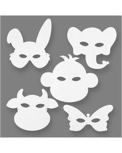 Máscaras de animales, A: 13-24 cm, A: 20-28 cm, 230 gr, blanco, 16 ud/ 1 paquete