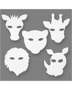 Máscaras de la jungla, A: 22,5-25 cm, A: 20,5-22,5 cm, 230 gr, blanco, 16 ud/ 1 paquete