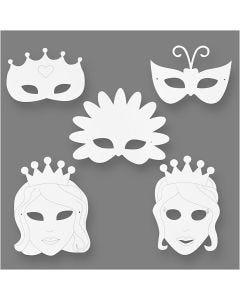 Máscaras de cuento de hadas, A: 13,5-25 cm, A: 17-25 cm, 230 gr, blanco, 16 ud/ 1 paquete