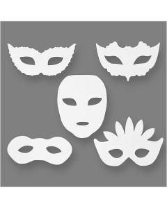 Máscaras de carnaval, A: 8,5-19 cm, A: 15-20,5 cm, 230 gr, blanco, 16 ud/ 1 paquete