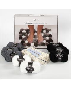 DIY Kit de lana - Pompones para decoración, gris marrón, 1 set/ 1 caja