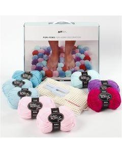 DIY Kit de lana - Pompones para decoración, verde musgo, 1 set/ 1 caja
