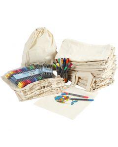 Bolsas y mochilas con rotuladores, medidas 27,5x30 cm, surtido de colores, 1 set
