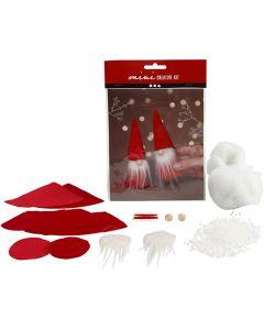 Mini kit creativo, Duende de Navidad, A: 12 cm, rojo, 1 set