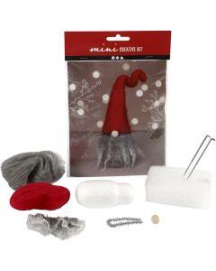 Mini kit creativo, Duende de Navidad con barba gris, A: 13 cm, 1 ud/ 1 set