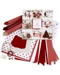Set de trenzas y doblados, rojo, blanco, 1 set