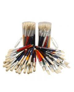 Pinceles para niños, Redondo,plano, L. 19 cm, A: 15 mm, 60 ud/ 1 paquete