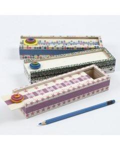 Estuche con washi tapes y botones de madera