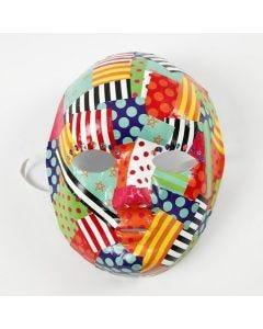 Decoupage con papel satinado estampado sobre una máscara