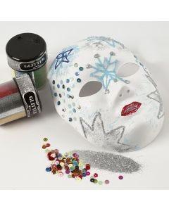 Máscara con detalles de purpurina hechos con cola