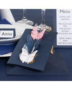 Una invitación con Mariposas troqueladas y papel Deco Foil