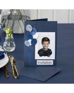 Invitación con foto y globos troquelados decorados con Deco Foil
