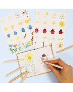 Aprende cómo dibujar insectos y flores en un libro de naturaleza.