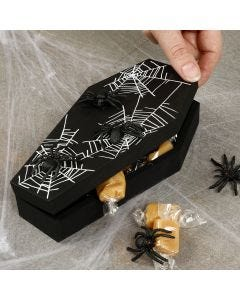 A Halloween coffin with spiders