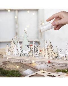 Un calendario de Adviento de madera