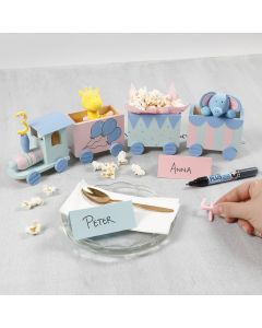 A birthday train decorated with craft paint, a Silk Clay number and Silk Clay animals