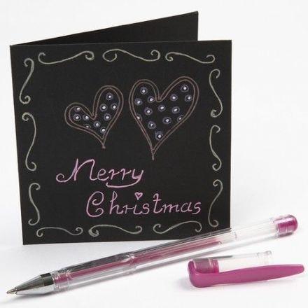 Writing on a Black Greeting Card