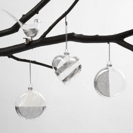 A Glass Bird, Heart and Bauble with Silver Imitation Metal Leaf