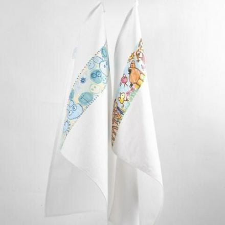 A Tea Towel with a Border of painted and drawn Designs