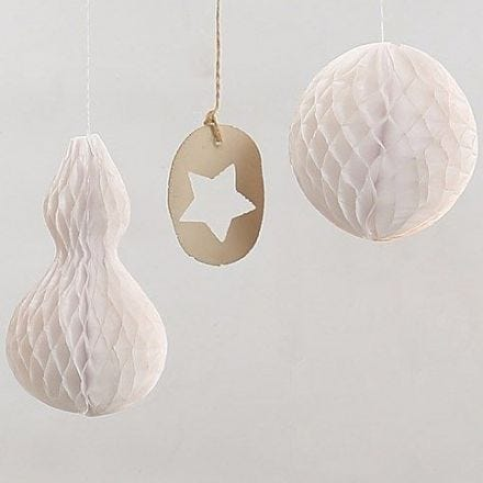 Hanging Decorations made from white Honeycomb Paper