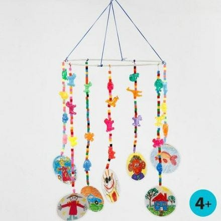 Mobile from a Metal Ring with Bead Pendants & laminated Drawings