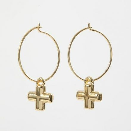 Gold-plated Beading Hoops with Crosses