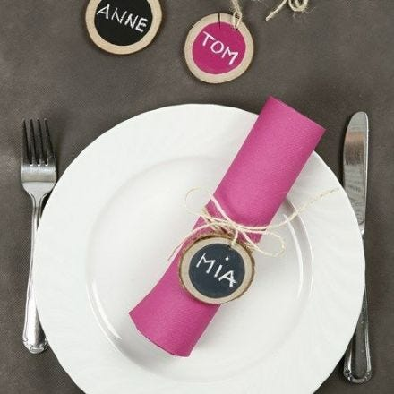 Place Cards made from wooden Discs with Blackboard Paint