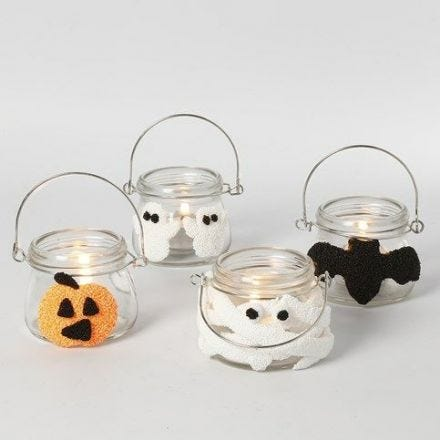 Halloween Lanterns decorated with Foam Clay Shapes