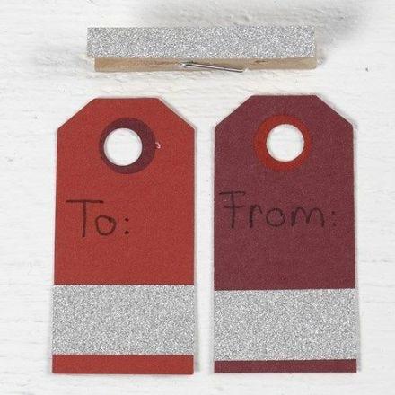 Etiquetas manila con Washi tape con glitter