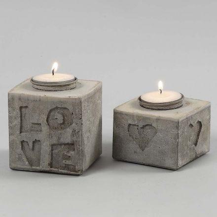 Porta velas de hormigón para manualidades con formas en relieve