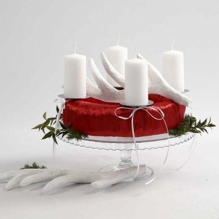 Corona de adviento roja y blanca