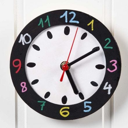 Un reloj de pared con una cara pintada y un marco