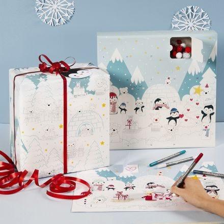 Colorea un calendario de Adviento en caja y papel de regalo con diseños del país de las maravillas de invierno