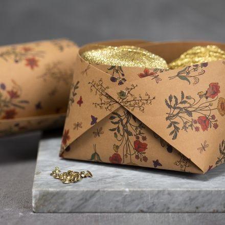 Un tazón de papel de imitación al cuero ensamblado con remaches