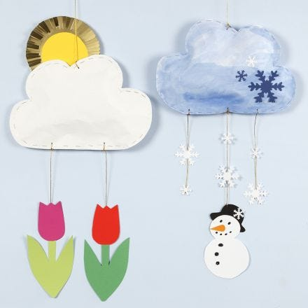 Cloud mobiles with different weather made from kraft paper and card