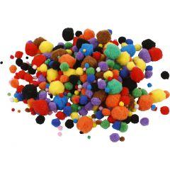 Pompones, dia: 5-40 mm, surtido de colores, 42 gr/ 1 paquete