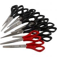 Tijeras escolares, L. 14 cm, diestro & zurdos, negro, rojo, 12 ud/ 1 paquete