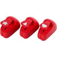 Troqueles para papel, estrella, corazón, árbol de navidad, medidas 16 mm, rojo, 1 set