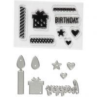 Sellos transparentes, grabado en relieve y troqueles, Cumpleaños, medidas 10-70 mm, 1 paquete