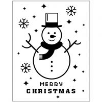 Placa de embossing, Muñeco de nieve, dia: 11x14 cm, grosor 2 mm, 1 ud