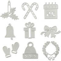 Carpeta troquel y grabado en relieve, Motivos navideños, dia: 2-6,5 cm, 1 ud
