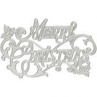 Carpeta troquel y grabado en relieve, Merry Christmas, dia: 11,5x7,2 cm, 1 ud